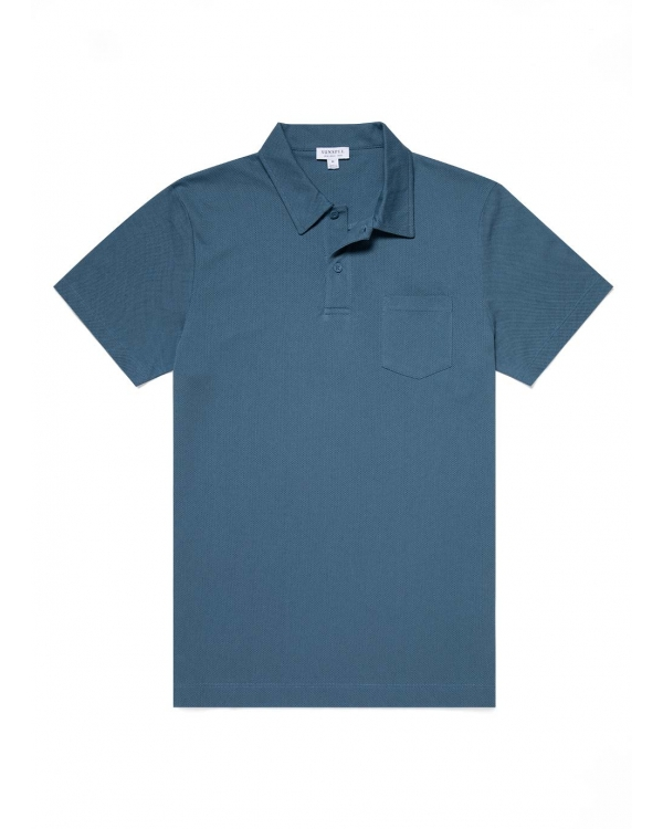 Men's Cotton Riviera Polo Shirt in Airforce
