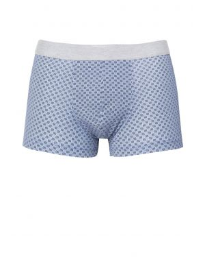 Herren Bedruckte Stretch Baumwoll Trunk Shorts in Dunkelblau Block Square