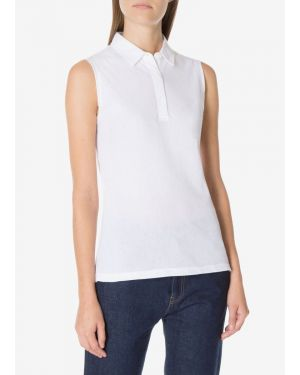 Women's Midweight Cotton Cap Sleeve Polo in White
