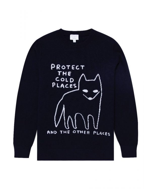 David Shrigley und Sunspel Lammwolle Polarfuchs Pullover in Dunkelblau