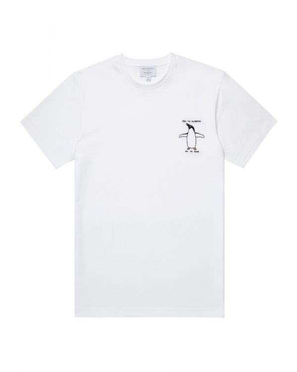David Shrigley und Sunspel Baumwolle Pinguin Besticktes T-Shirt in Weiß