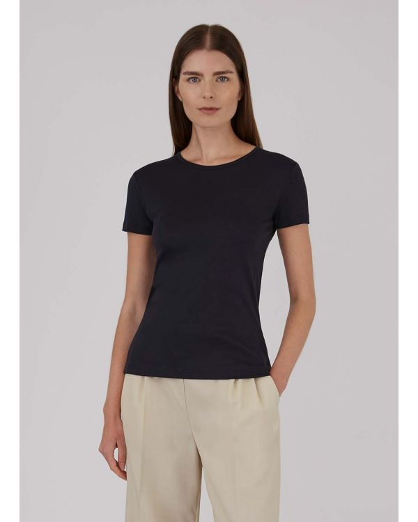 Damen Sea Island Baumwoll T-Shirt in Schwarz